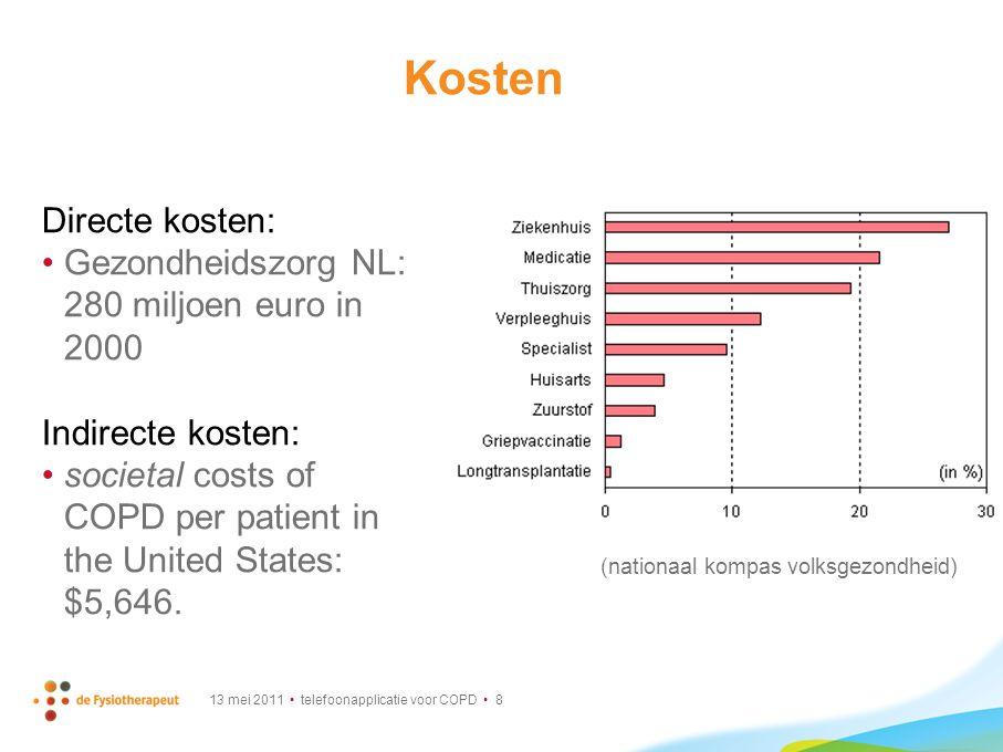 Kosten Directe kosten: Gezondheidszorg NL: 280 miljoen euro in 2000