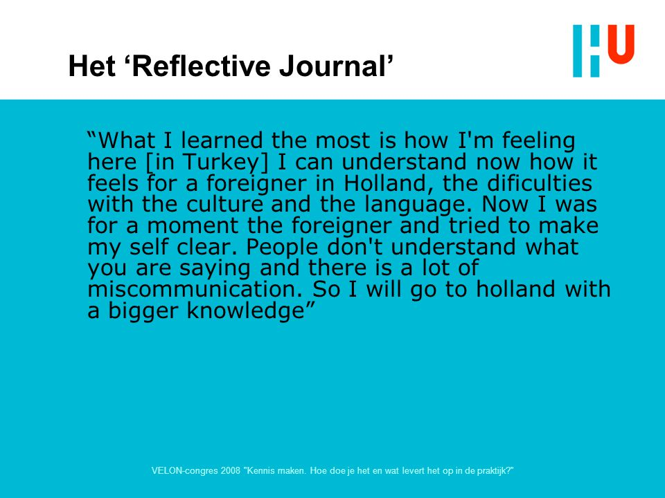 Het 'Reflective Journal'