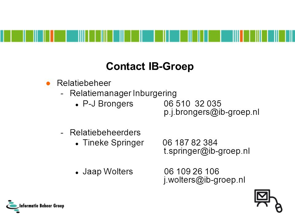 Contact IB-Groep Relatiebeheer Relatiemanager Inburgering
