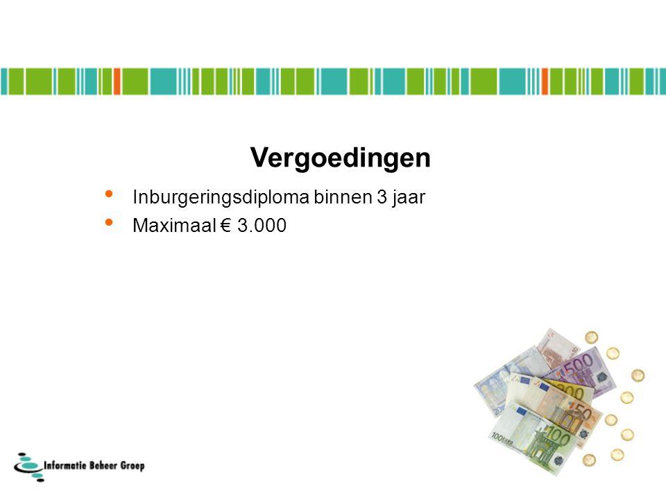 Vergoedingen Inburgeringsdiploma binnen 3 jaar Maximaal € 3.000
