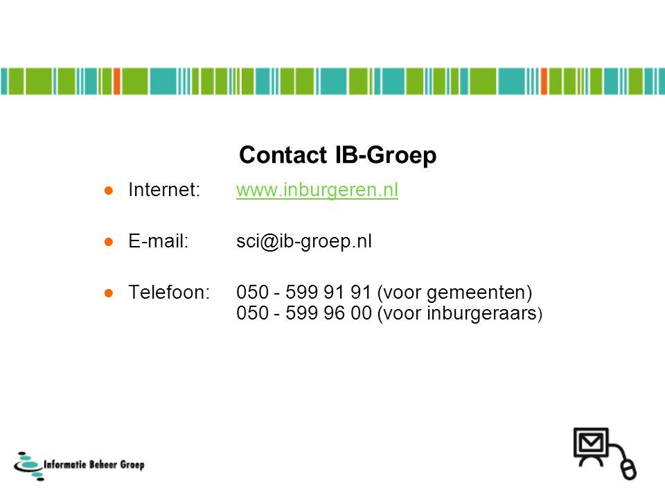 Contact IB-Groep Internet: www.inburgeren.nl E-mail: sci@ib-groep.nl