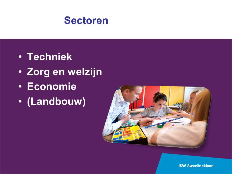 Sectoren Techniek Zorg en welzijn Economie (Landbouw)