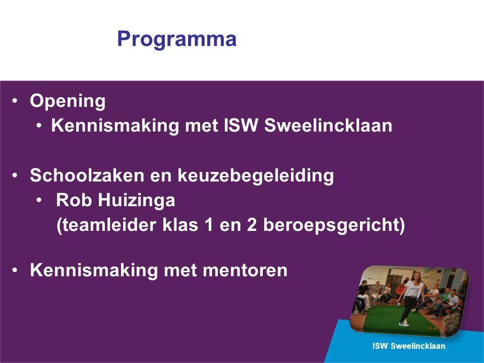Programma Opening Kennismaking met ISW Sweelincklaan