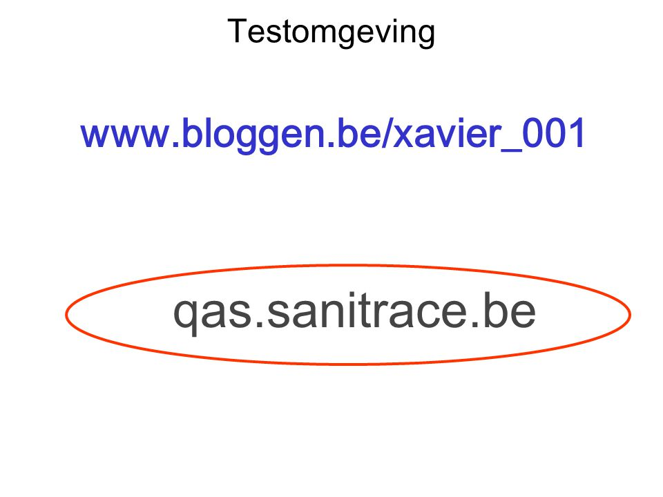 Testomgeving www.bloggen.be/xavier_001 qas.sanitrace.be