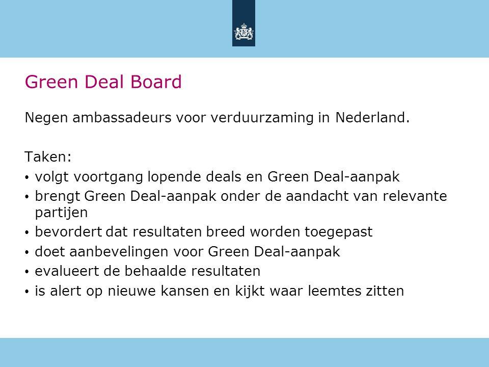 Green Deal Board Negen ambassadeurs voor verduurzaming in Nederland.