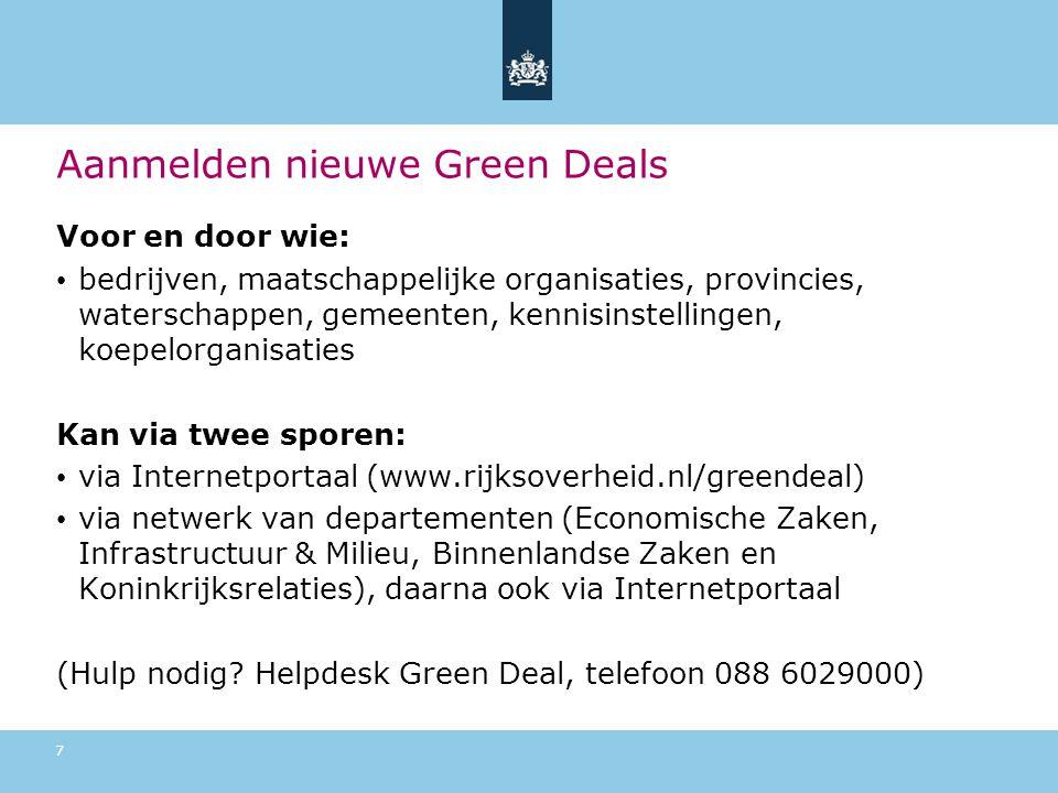 Aanmelden nieuwe Green Deals