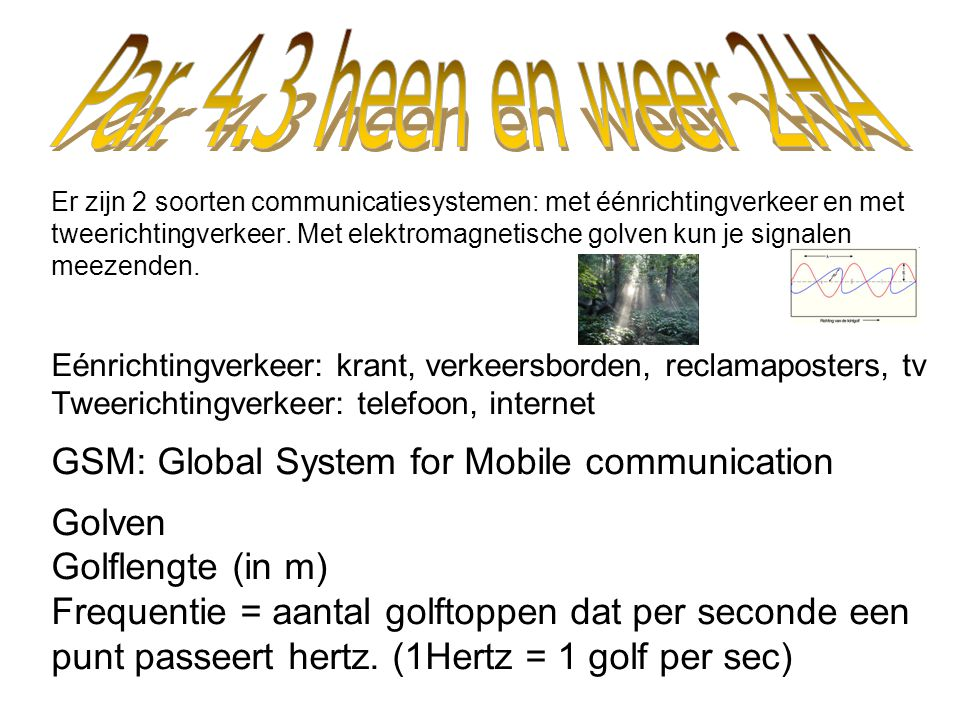 GSM: Global System for Mobile communication Golven Golflengte (in m)
