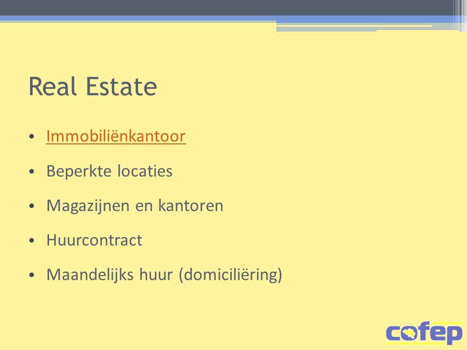 Real Estate Immobiliënkantoor Beperkte locaties Magazijnen en kantoren
