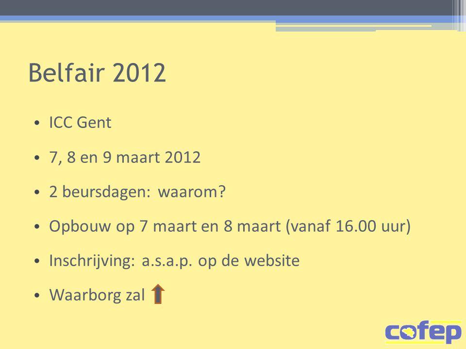 Belfair 2012 ICC Gent 7, 8 en 9 maart 2012 2 beursdagen: waarom