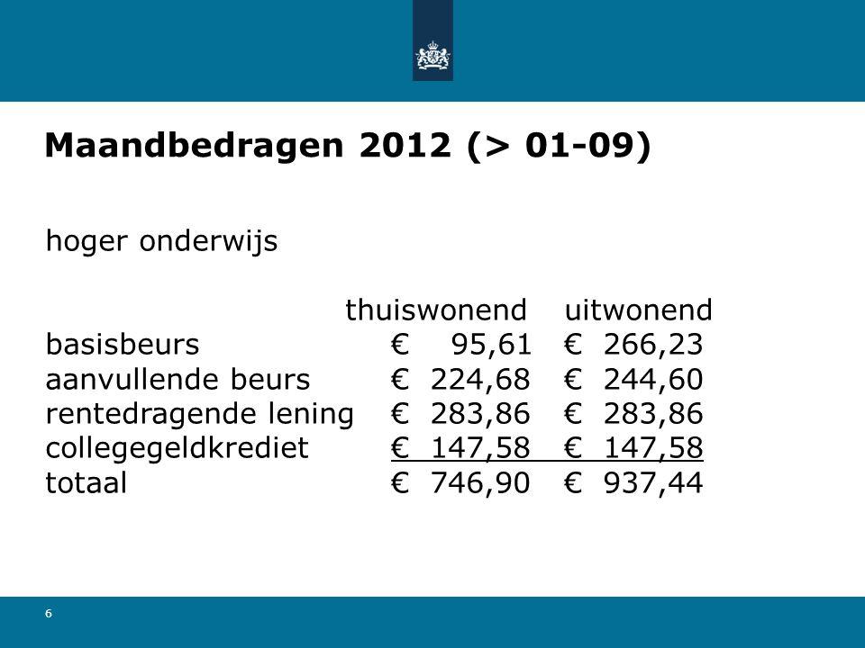 Maandbedragen 2012 (> 01-09)