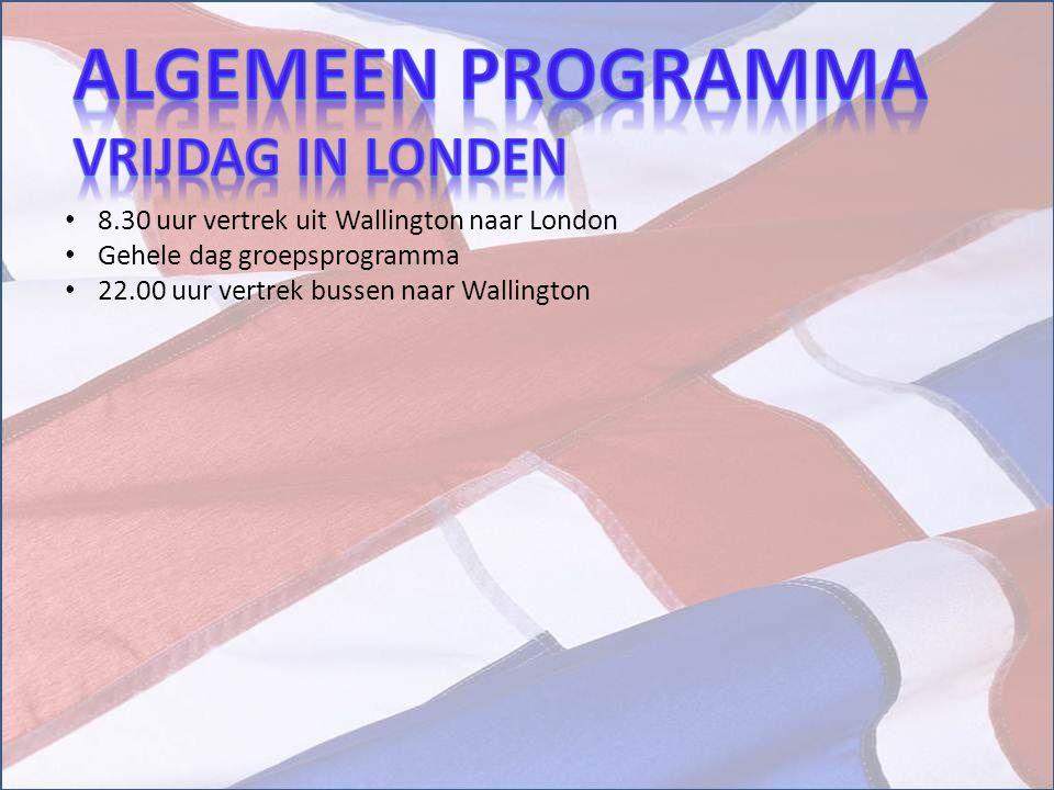 Algemeen Programma Vrijdag in londen
