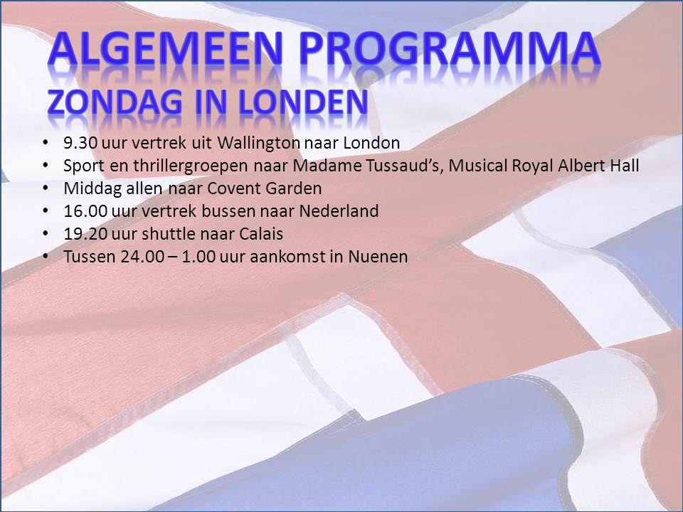 Algemeen Programma Zondag in londen