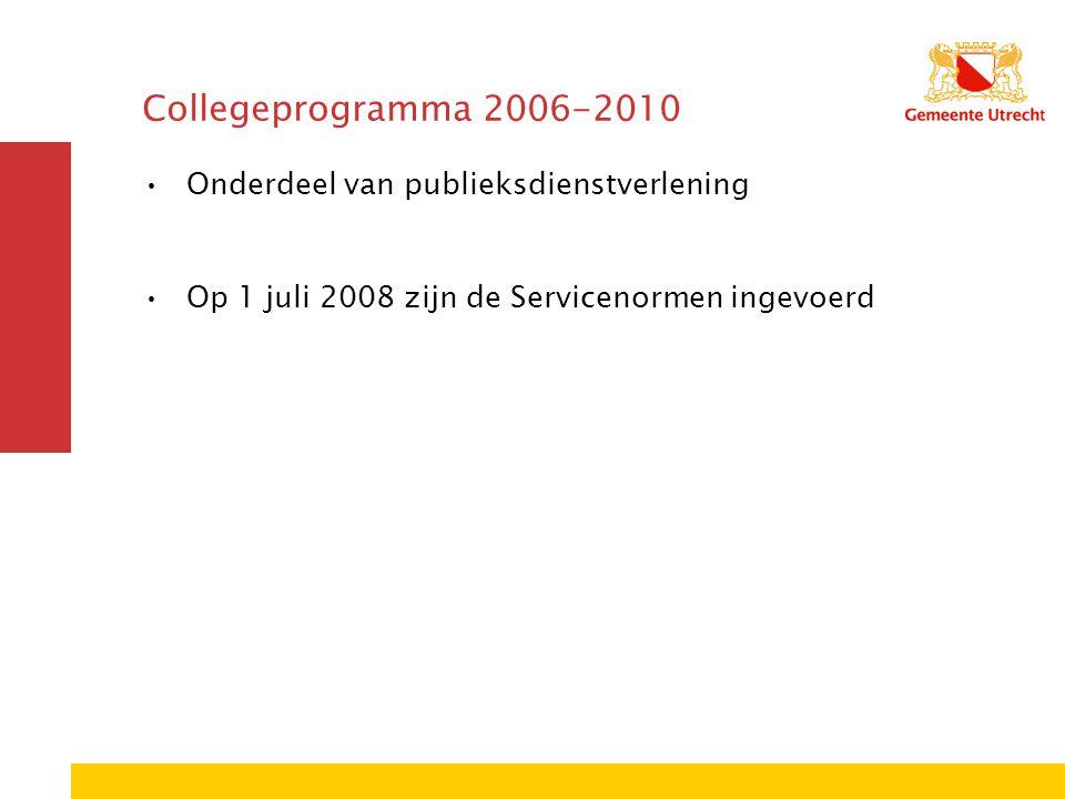 Collegeprogramma 2006-2010 Onderdeel van publieksdienstverlening