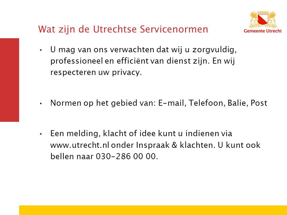 Wat zijn de Utrechtse Servicenormen