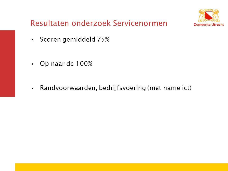 Resultaten onderzoek Servicenormen