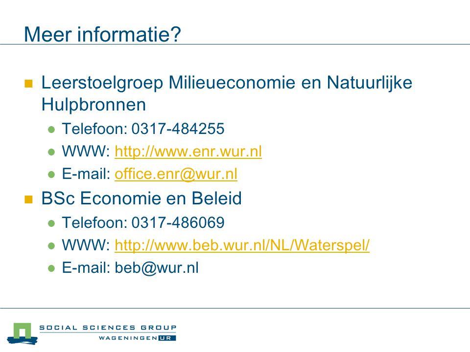Meer informatie Leerstoelgroep Milieueconomie en Natuurlijke Hulpbronnen. Telefoon: 0317-484255. WWW: http://www.enr.wur.nl.