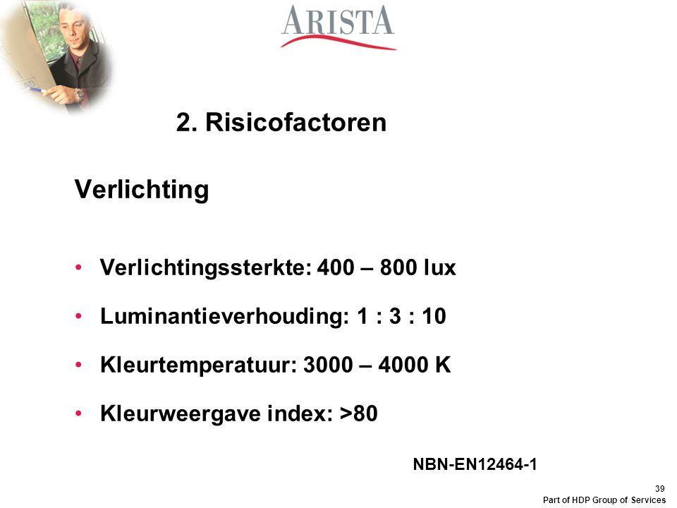 2. Risicofactoren Verlichting Verlichtingssterkte: 400 – 800 lux