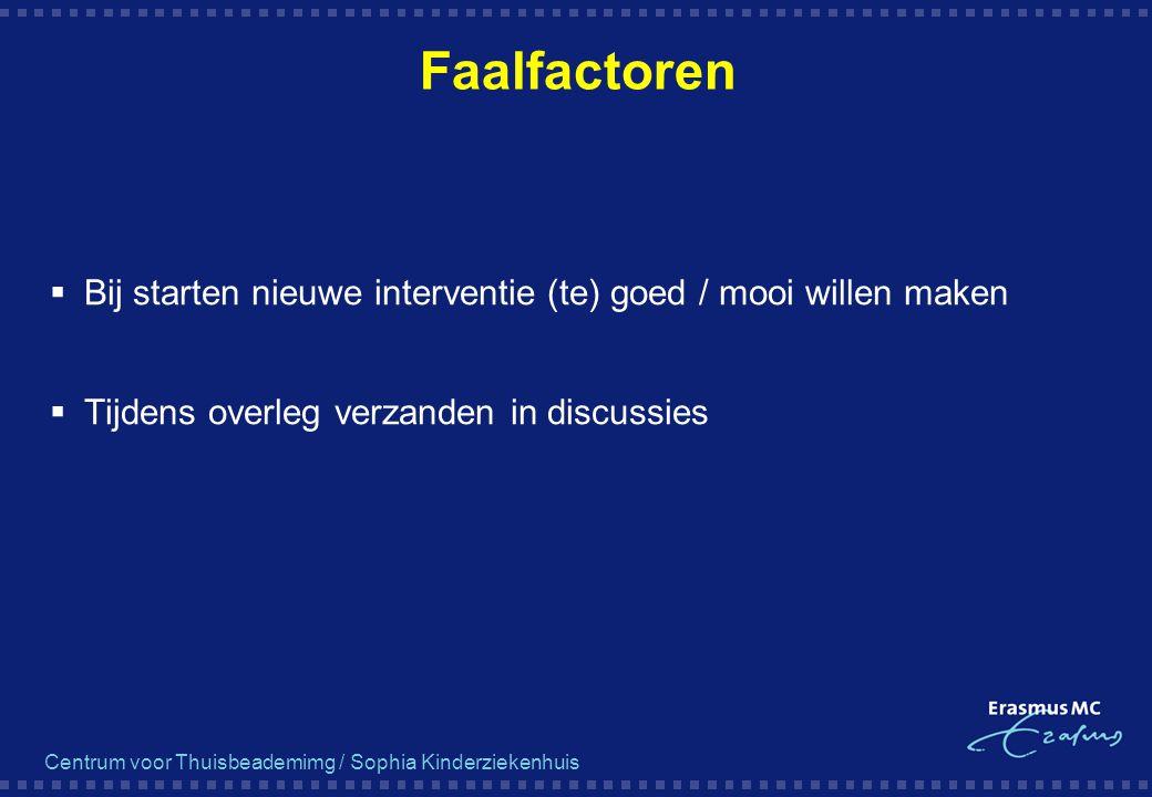 Faalfactoren Bij starten nieuwe interventie (te) goed / mooi willen maken.