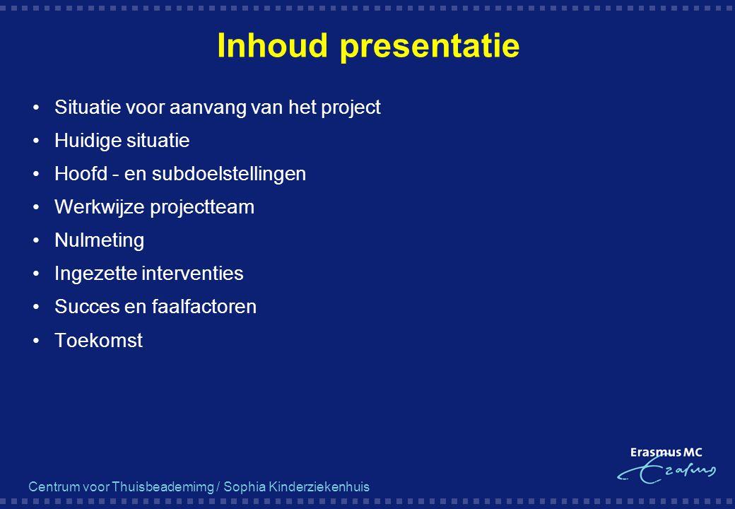Inhoud presentatie Situatie voor aanvang van het project