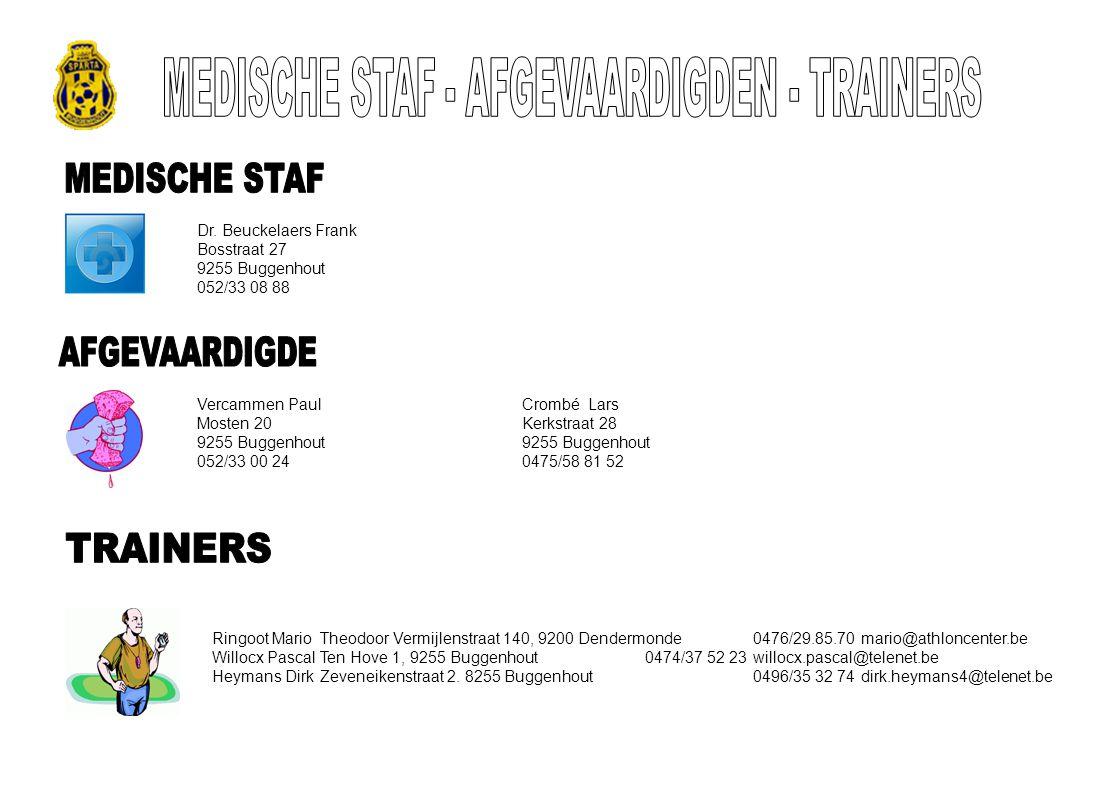 MEDISCHE STAF - AFGEVAARDIGDEN - TRAINERS