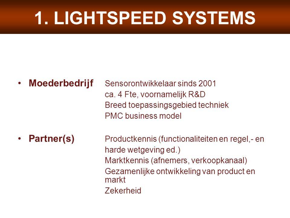 1. LIGHTSPEED SYSTEMS Moederbedrijf Sensorontwikkelaar sinds 2001