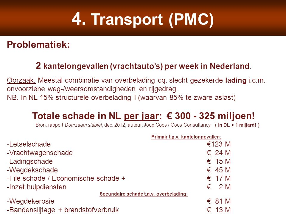4. Transport (PMC) Problematiek: