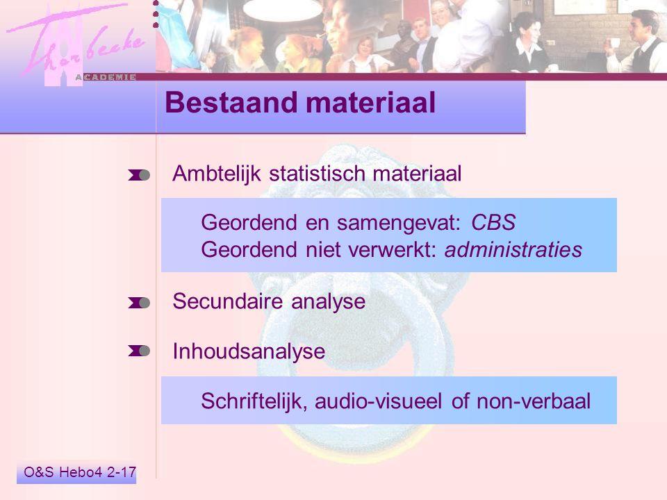 Bestaand materiaal Ambtelijk statistisch materiaal