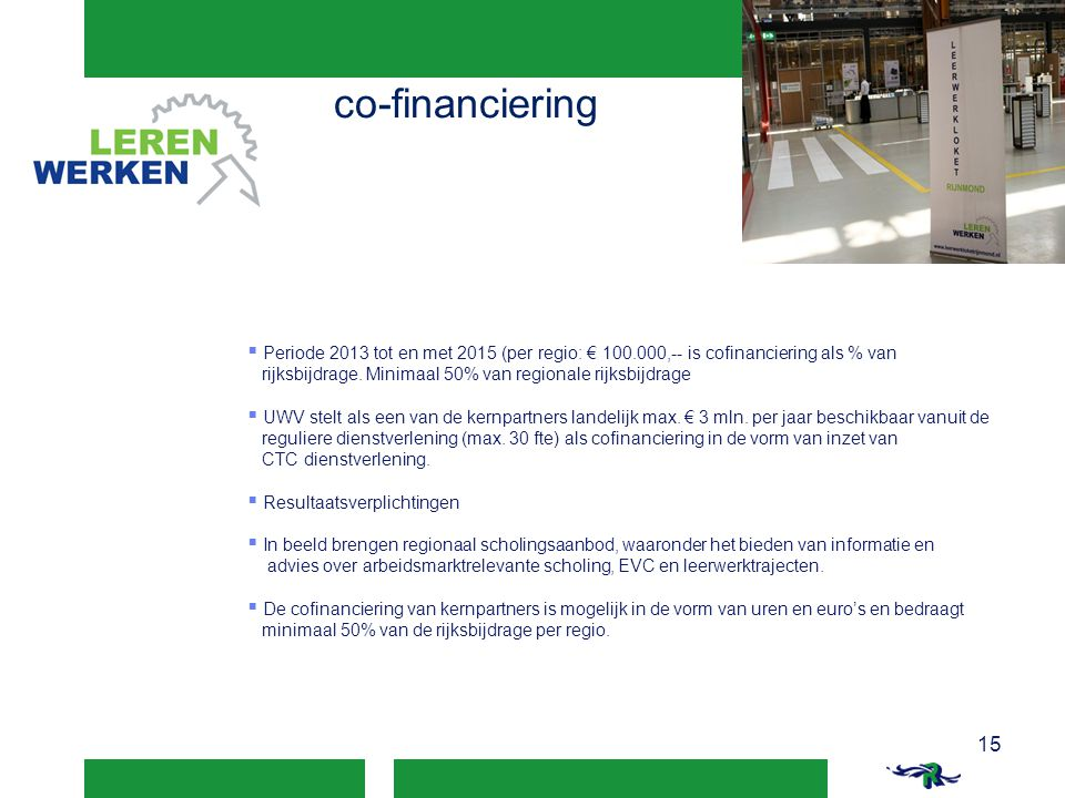 co-financiering Periode 2013 tot en met 2015 (per regio: € 100.000,-- is cofinanciering als % van.