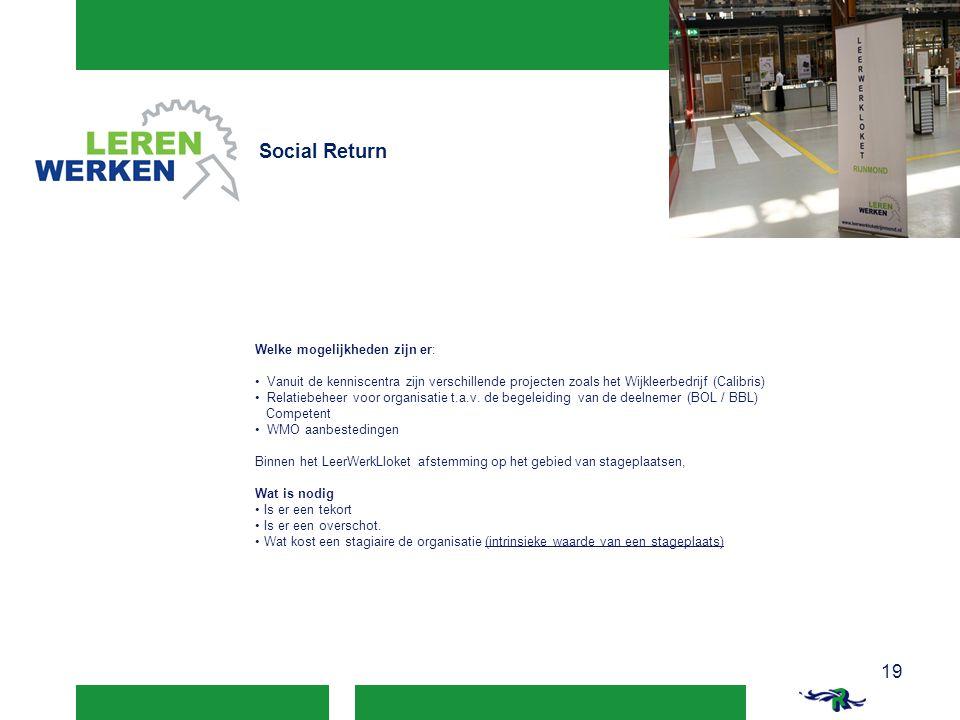 Social Return 19 19 Welke mogelijkheden zijn er: