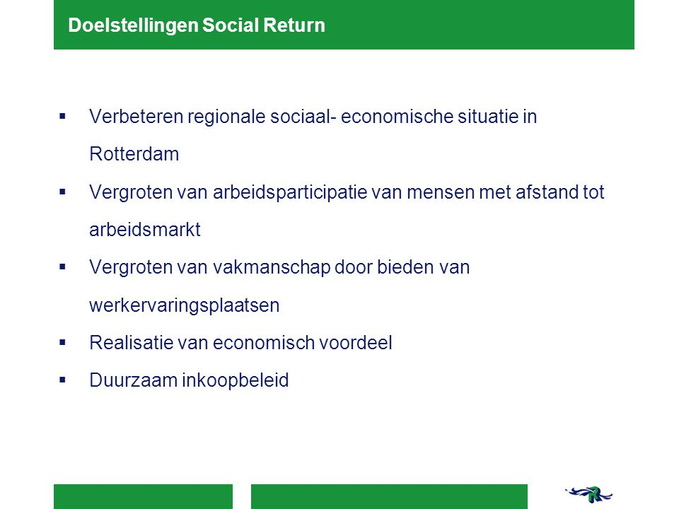 Doelstellingen Social Return