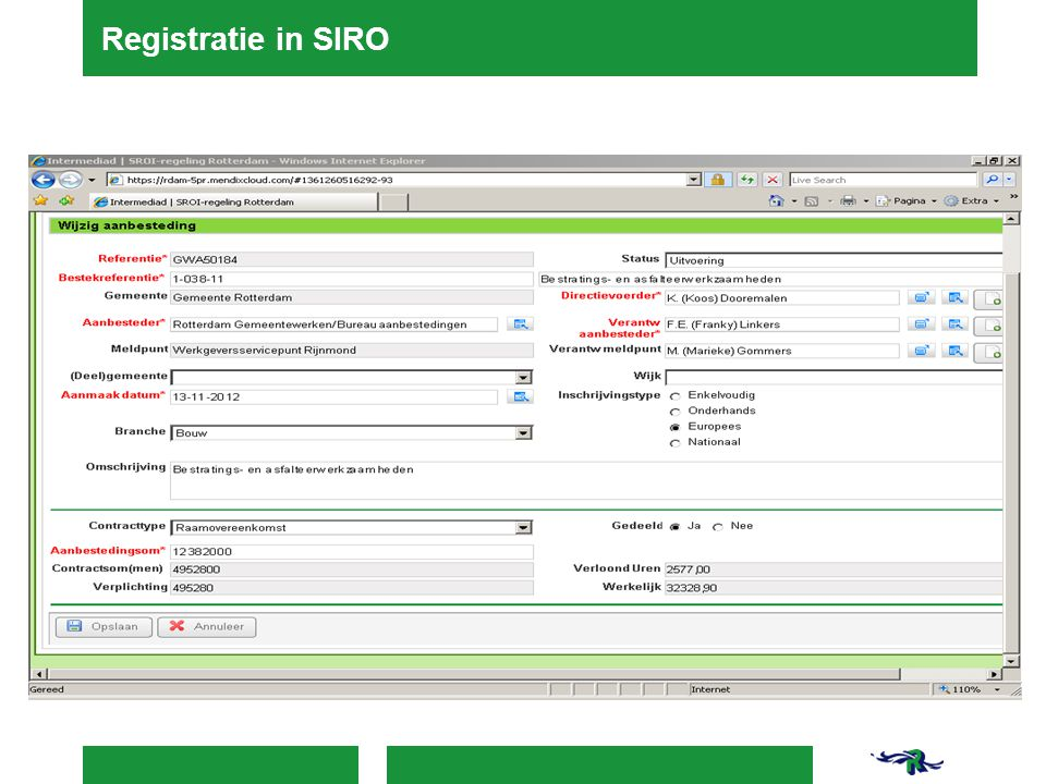 Registratie in SIRO