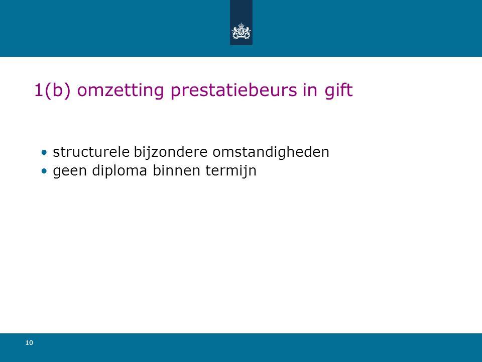 . 1(b) omzetting prestatiebeurs in gift