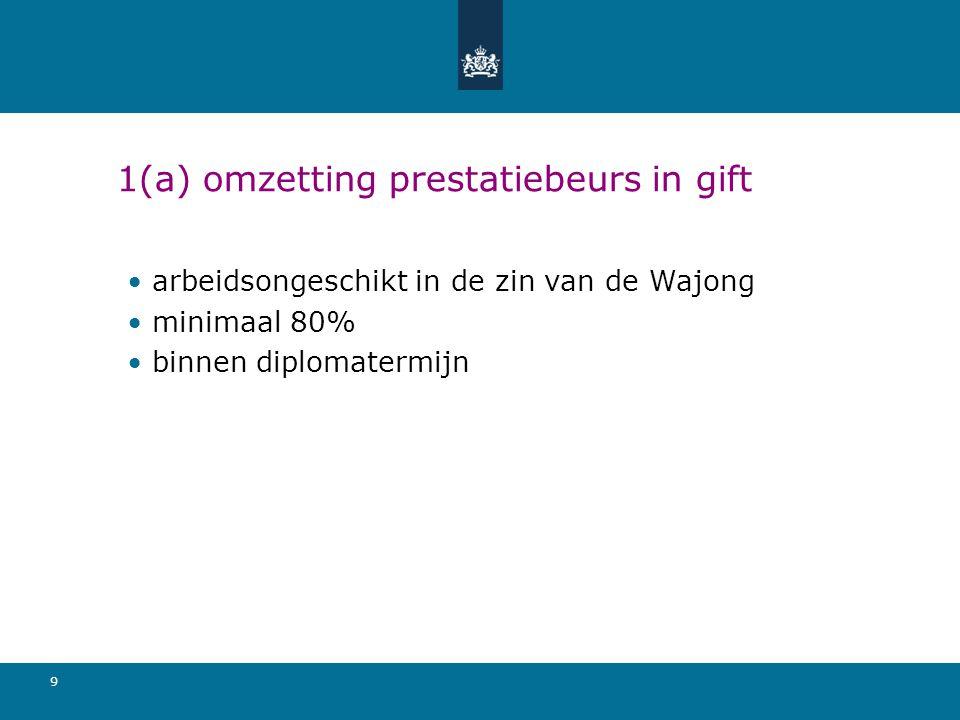 1(a) omzetting prestatiebeurs in gift