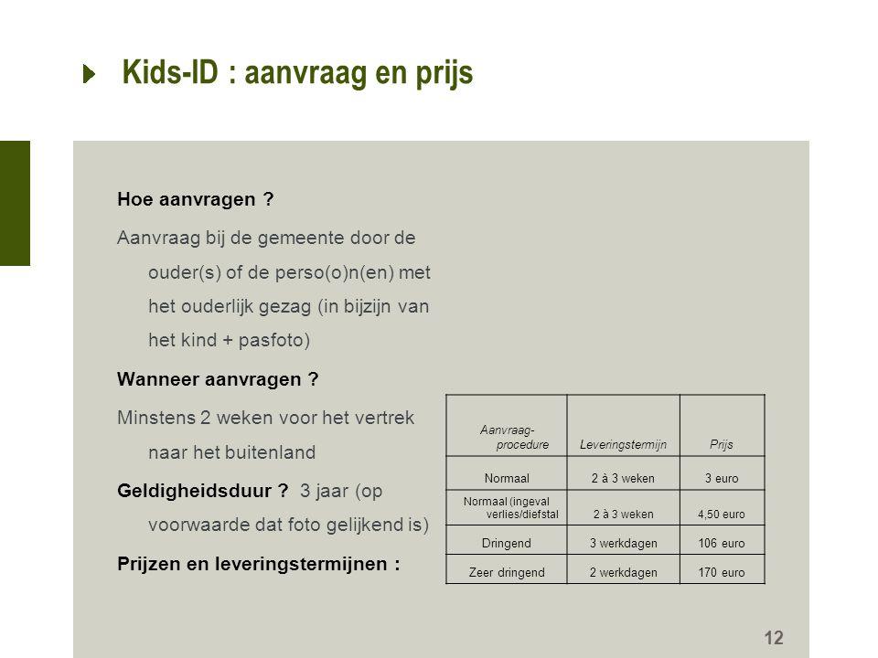 Kids-ID : aanvraag en prijs