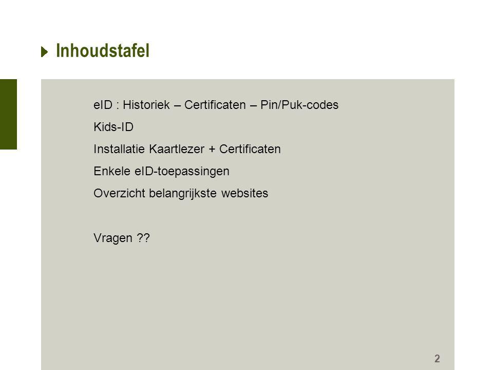 Inhoudstafel eID : Historiek – Certificaten – Pin/Puk-codes Kids-ID