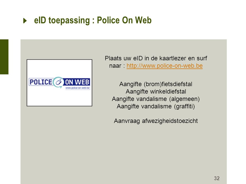 eID toepassing : Police On Web