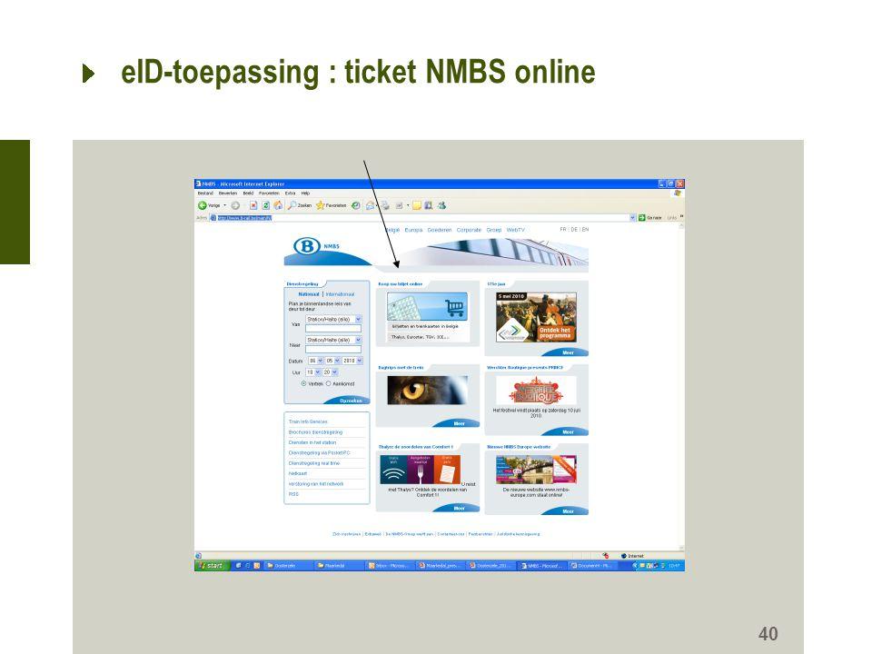 eID-toepassing : ticket NMBS online