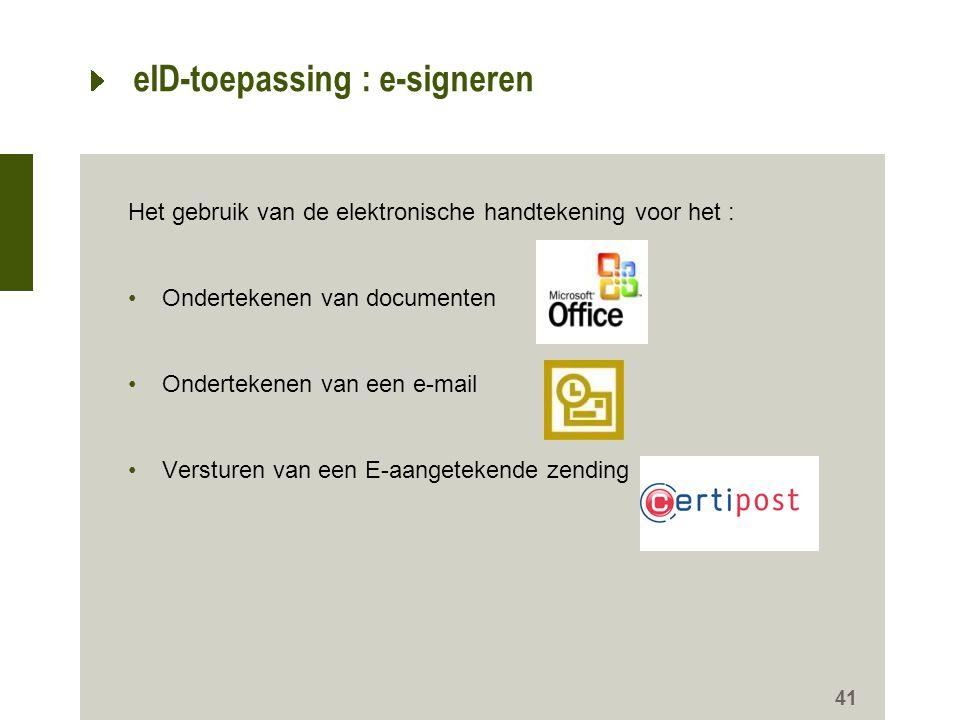 eID-toepassing : e-signeren