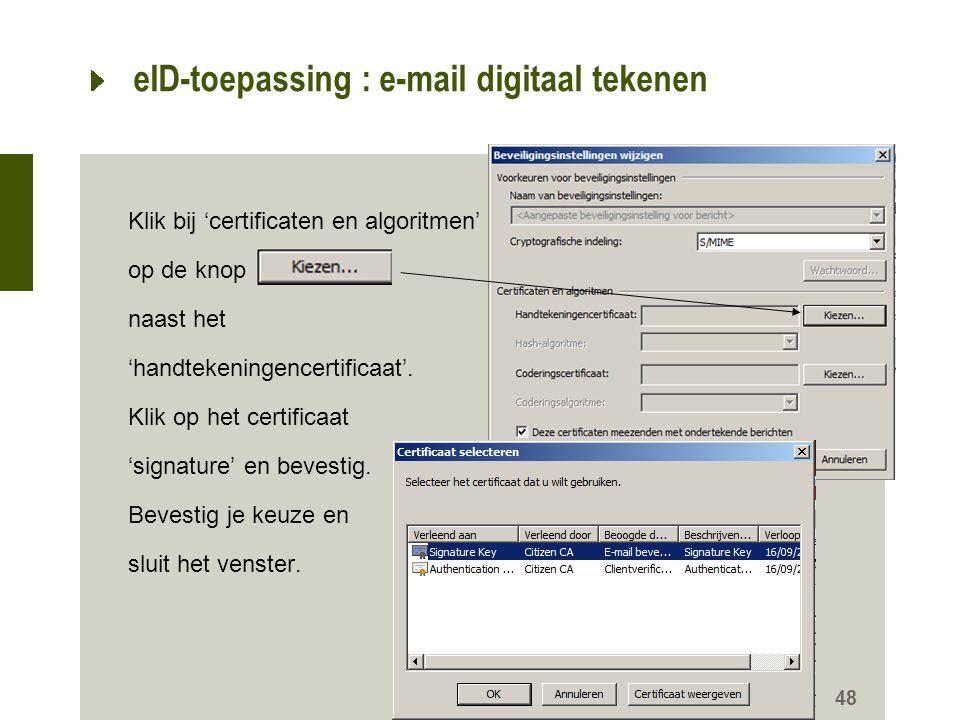 eID-toepassing : e-mail digitaal tekenen