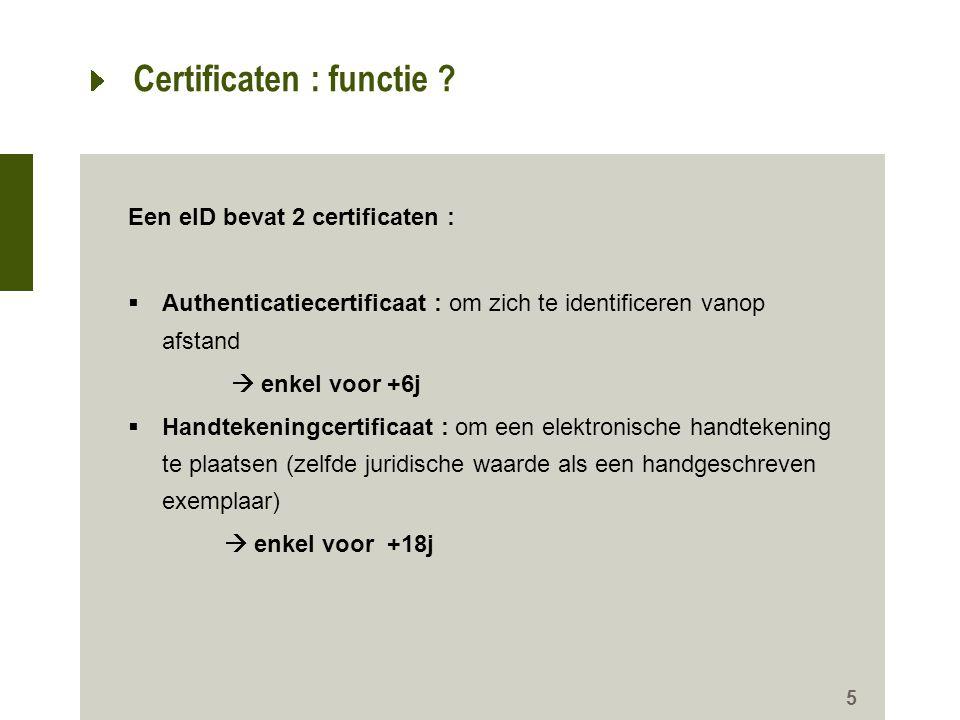 Certificaten : functie