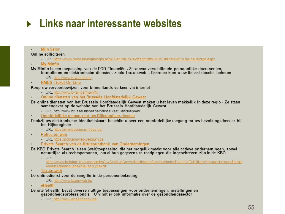 Links naar interessante websites