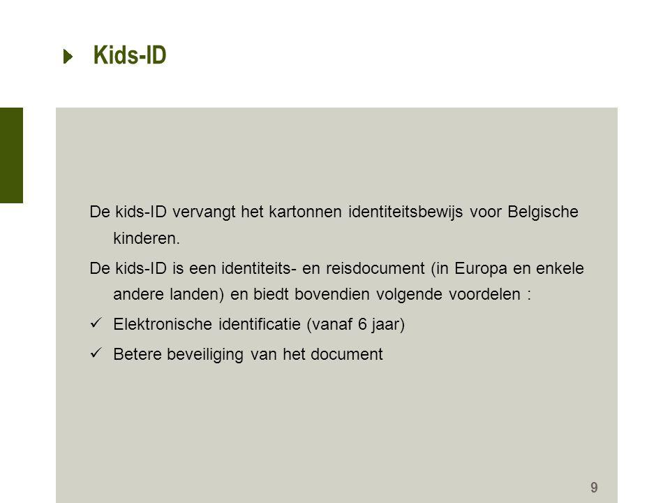 Kids-ID De kids-ID vervangt het kartonnen identiteitsbewijs voor Belgische kinderen.