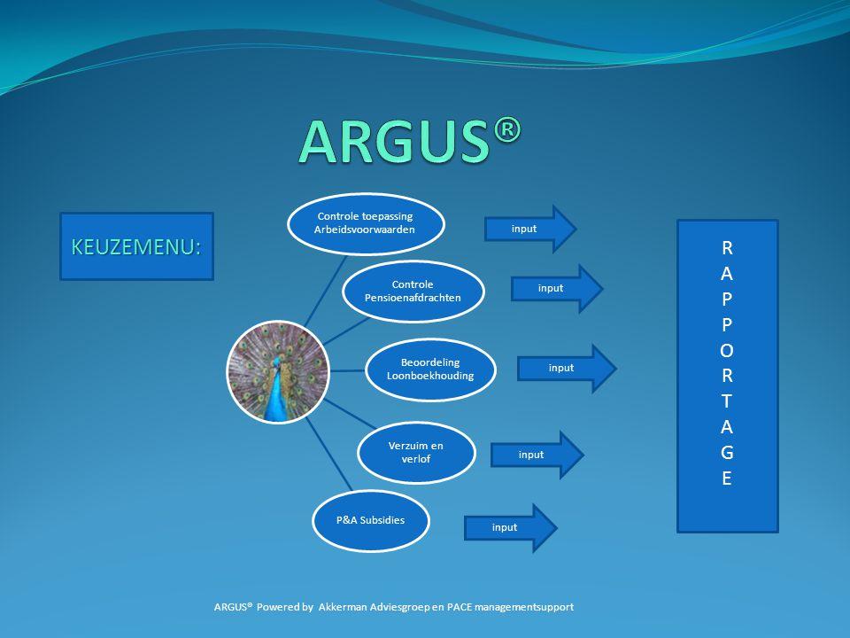 ARGUS® KEUZEMENU: R A P O T G E Controle toepassing Arbeidsvoorwaarden