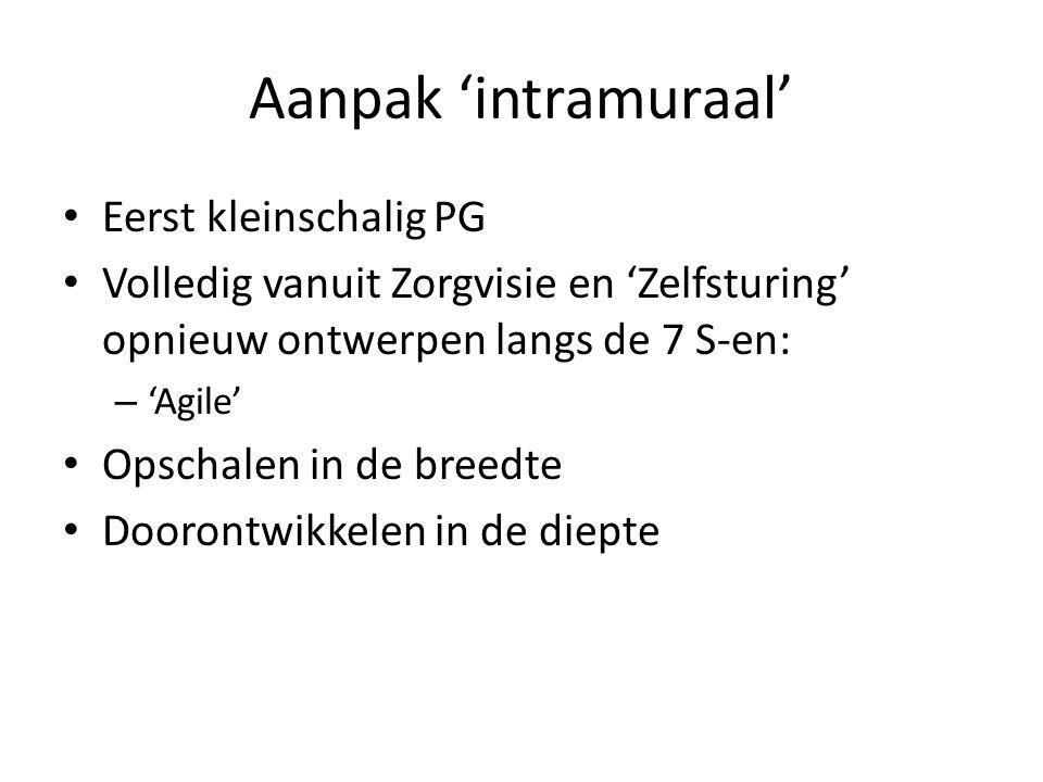 Aanpak 'intramuraal' Eerst kleinschalig PG