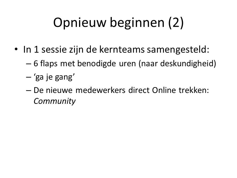 Opnieuw beginnen (2) In 1 sessie zijn de kernteams samengesteld: