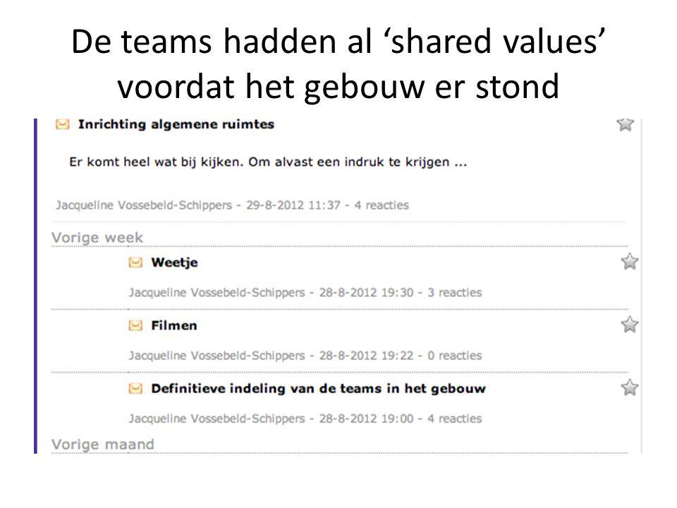 De teams hadden al 'shared values' voordat het gebouw er stond