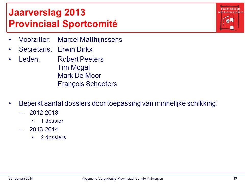 Jaarverslag 2013 Provinciaal Sportcomité