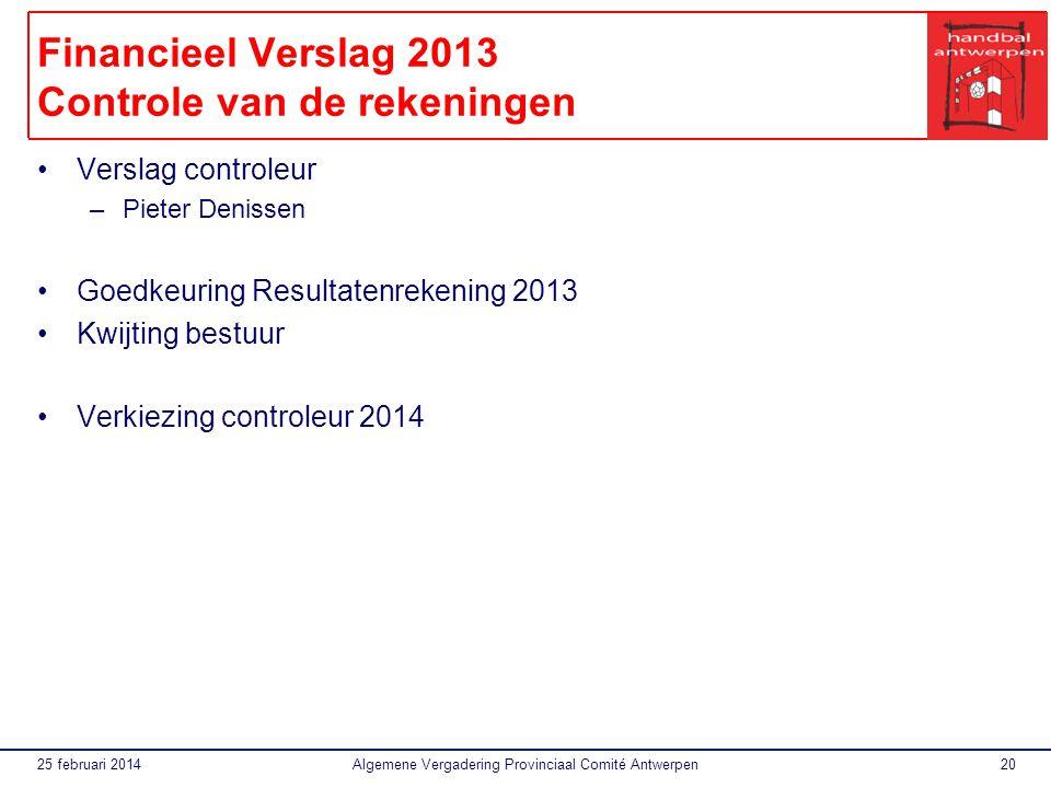 Financieel Verslag 2013 Controle van de rekeningen