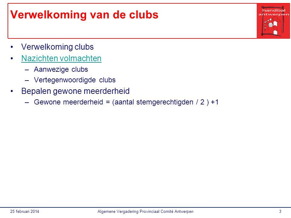 Verwelkoming van de clubs