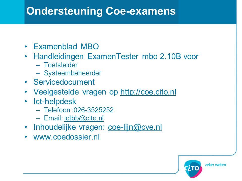 Ondersteuning Coe-examens